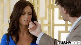 hot brunette in close-fisted low-spirited dress Whitney Westgate hard anal porn