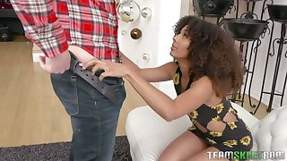 Frizzled haired slender ebony gal Nia Nixon lets sickly dude stretch her cooch