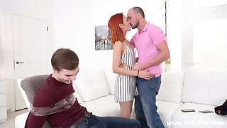 Red-hot haired bitch Michelle Can ties up her boyfriend and makes him cuckold