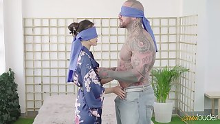 Tattooed butch with huge unearth bangs exotic Asian babe Katana