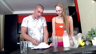 Long legged blonde teen Sylvia O pounded more the kitchen wearing socks