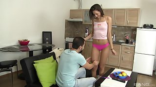 Slender amateur teen babe Miky Love blows her boyfriend approximately POV