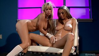 Busty lesbian women, full passion in lustful oral sex scenes