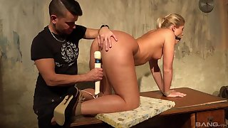 Gagged blonde toy fucked and ass licked in rough scenes