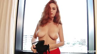 Redhead stepsister teases with hottie black pantyhose