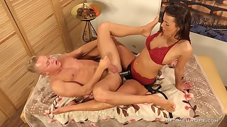 Erotic massage with kinky Lucy Vojak ends up with anal polishing for dude