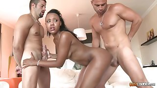 Black babe, Noe Milk is fucking two guys at the same time, like a pro